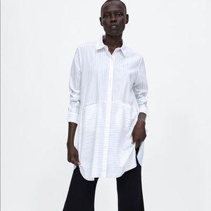 Zara Oversized Striped Cotton Shirt Tunic Sz M